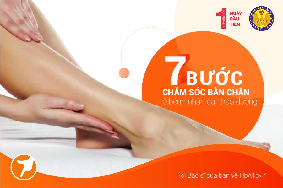 7 bước chăm sóc bàn chân ở bệnh nhận Đái tháo đường